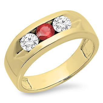Dazzlingrock Collection 14K Round Ruby & White Diamond Male Channel Set 3 Stone Wedding Band, Yellow Gold