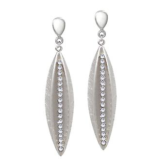 Eternal Collection Flight Clear Crystal Silver Tone Drop Clip On Earrings