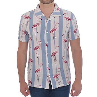 Brave Soul Mens Pink Short Sleeve Casual Flamingo Buttoned Shirt - White/Blue