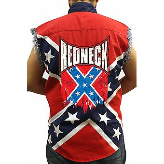 Ermeløs konfødererte Rebel Flag redneck biker skjorte
