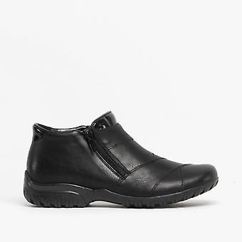 Rieker L4673-01 Ladies Zip Wide Warm Lined Ankle Boots Black
