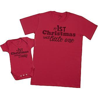 1er Noel avec papa - Chemise T Homme et Body pour bébé