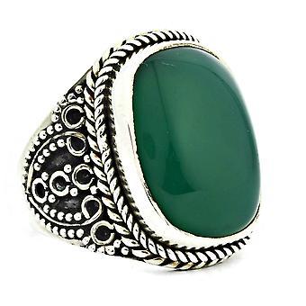 Ring 925 Silber mit Grüner Onyx 55 mm / Ø 17.5 mm (KLE-RI-073-14-(55))