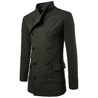 Allthemen Men's Double-Breasted Solid Casual Overcoat With Belt