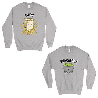 Chips & Guacamole Grey Matching Sweatshirt Pullover For Wedding