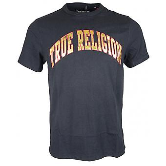 True Religion Metalic Gold Logo Printed Black T-shirt