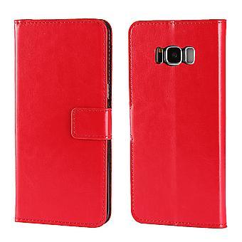 Samsung Galaxy S8 lompakko kotelo, tyylikäs ylellinen suojaava nahkakansi, punainen