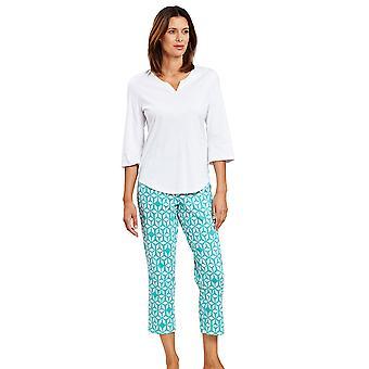 Rösch 1203005-15643 Naiset's Smart Casual Marrakesch Blue Print Geometrinen Pyjama Set