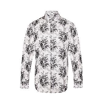 JSS Floral Branco Regular Fit 100% Camisa de Algodão