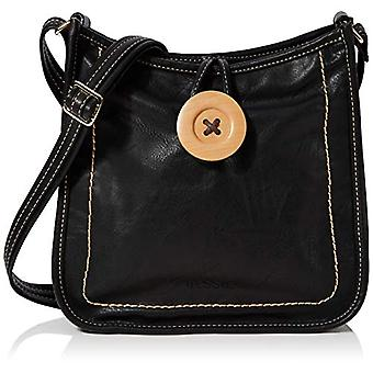 BESSIE LONDONVintage Button Cross Body Women's strap bag (Black)8.5x28x28 Centimeters (W x H x L)