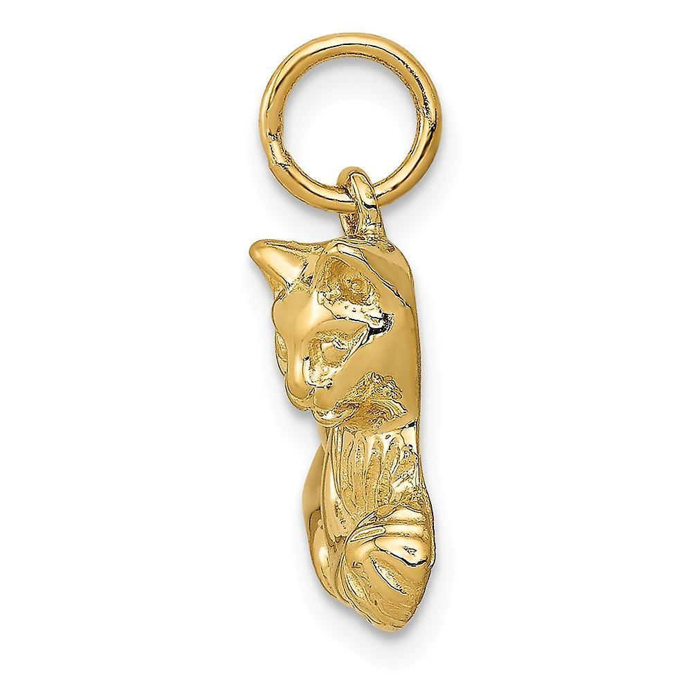 14 k Gelbgold solide strukturiert poliert offenen zurück Katze Charme Anhänger Halskette Maßnahmen 17,5 x 17,7 mm Schmuck Geschenke für Wome