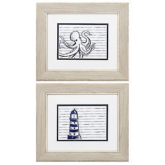 """13"""" X 11"""" White Frame Blue Nautical (Set of 2)"""