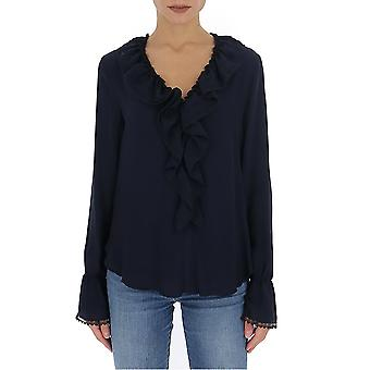 See By Chloé Chs20sht360144c3 Women's Blue Viscose Blouse