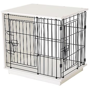 PawHut Duo Frame Dog Cage Half Crate w/ 2 Secure Doors Flat Top Elevated Base Small Animal White