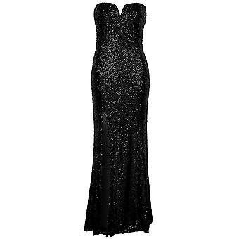 Panie V szyi wyściełane kubki cekinów stronie szczeliny Split Boobtube Long sukienka Maxi
