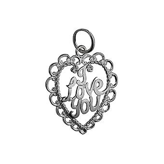 Silver 21x20mm I Love You Pendant or Charm