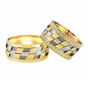 Bicolor wedding rings 0.74 ct. diamonds