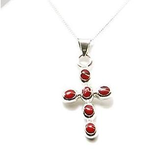 Toc Sterling Silver Deep Coral Cross Pendant on 18 Inch Chain