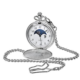 Boxx Silver Tone Numbers Sun and Moon Gents Pocket Watch with 12 Inch Chain BOXX414