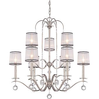 Elstead - 9 Light Two Tier Chandelier - Finition Argent Impérial - QZ/WHITNEY9