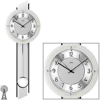 AMS 5234 Wall clock radio radio wall clock with pendulum analog silver pendulum clock with glass