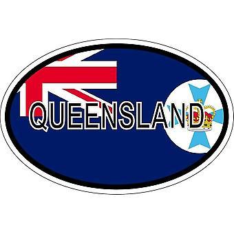 ملصقا بيضاوي االبيضاوي العلم رمز البلد أستراليا كوينزلاند