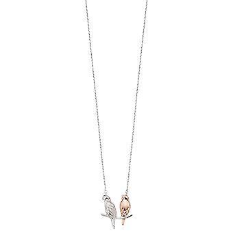 Elementen zilveren dubbele parkiet halsketting - Zilver/Rose Gold