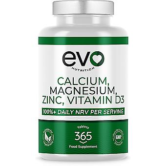 Calcium, Magnesium, Zinc and Vitamin D3 (365 Tablets) - Evo Nutrition