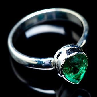 Zambian Emerald Ring Size 5.5 (925 Sterling Silver)  - Handmade Boho Vintage Jewelry RING5814