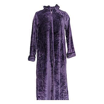 Stan Herman Women's Robe Tall Silky Plush Long Zip Purple A294386