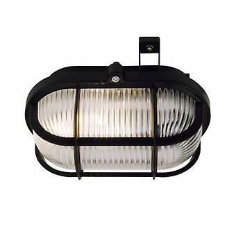 1 Light Outdoor Bulkhead Wall Lamp Black Ip44