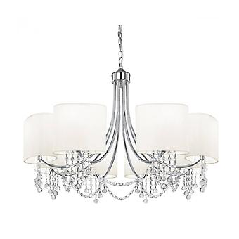 Nina Pendant Lamp, In Chrome And Crystal With 8 White Shades