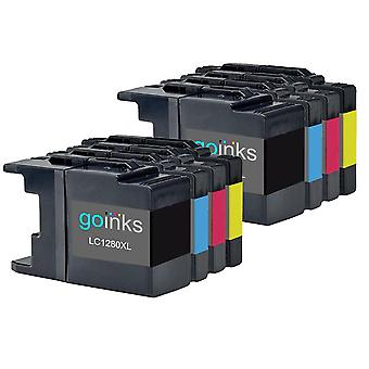 2 mustekasettisarjaa Brother LC1280XL Compatible/non-OEM by Go Inks (8 Mustetta) tilalle
