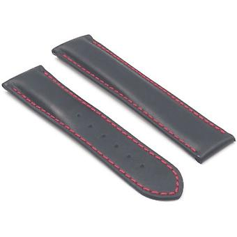 Watch strap made by strapsco for omega  black with red stitching smooth italian leather