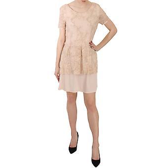 Liu Jo Beige Abito Lace Love Short Sleeve A-line Mini Dress