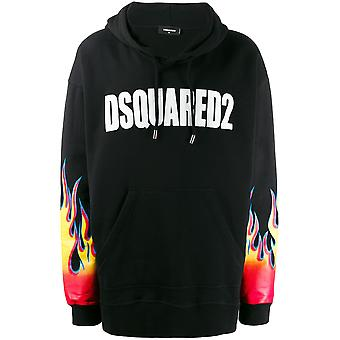 Oversize Flame Logo Print Hoodie