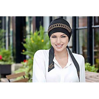 Headwear de luxo para câncer-Yanna Black Golden Diadema