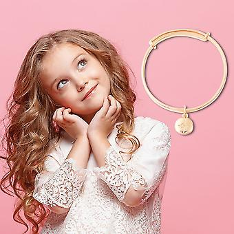 """White Diamond Star Charm Bangle voor Kids Yellow Gold Plated Silver Size 4.95"""""""