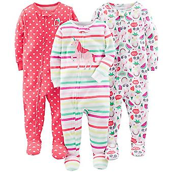 Simple Joys by Carter's Baby Girls' 3-Pack Snug-Fit Footed Cotton Pajamas, Ra...