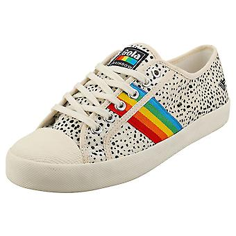 Gola Coaster Rainbow Cheetah Womens Fashion Trainers in Off White Multicolour
