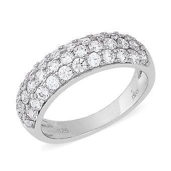 J FRANCIS Three Row Half Eternity Made with Swarovski Zirconia Ring Silver