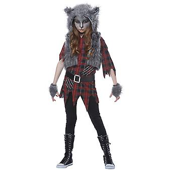 Werewolf Girl Wolf Horror Creature Monster Halloween Dress Up Girls Costume