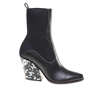 Jimmy Choo Mele85yyfblack Kvinder's Sort Læder Ankel Støvler