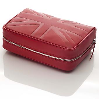 Red Britannia Leather Large Cosmetic Case