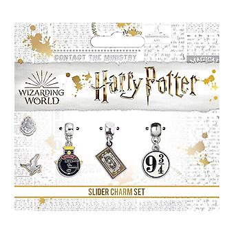Harry Potter Silber vergoldet Hogwarts Express Slider Charme Set