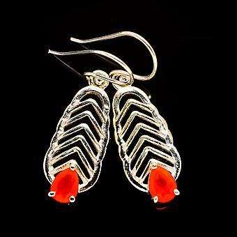 """Carnelian Earrings 1 5/8"""" (925 Sterling Silver)  - Handmade Boho Vintage Jewelry EARR404292"""