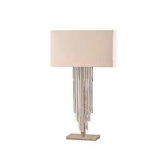 Intérieurs Crystal Cascade - 2 Light Table Lamp Clear Crystal (K9) Glass Detail, Off White Silk Effect with Shade, E14