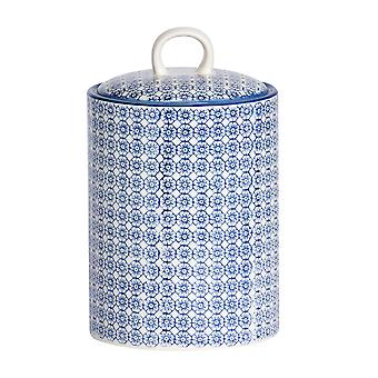 Nicola Spring Hand-Printed Biscuit Barrel - Porcelain Kitchen Storage Canister with Seal - Navy - 15.5 x 25cm