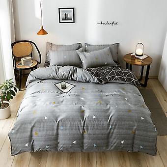 Capa clássica de edredom de algodão macio, folha plana e conjunto de cama de fronha