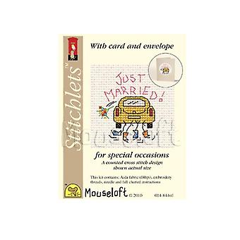 Just Married Wedding Stitchlets Counted Cross Stitch Card Making Kit